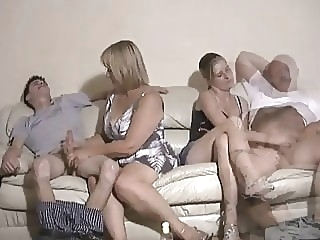 Mother and daughter jerking two guys off amateur spankwire cumshot