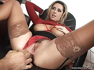 Secretary Mandy in red high heel sandals screws her boss anal spankwire facial