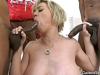 Hubby catches wife with three big black cocks blonde spankwire milf
