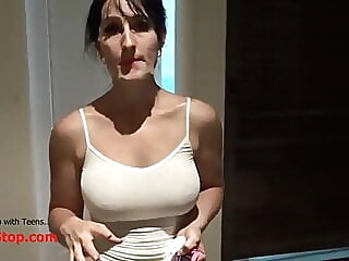 Slutty MILF Caught Sucking Neighors Bushwa blowjob spankwire cumshot