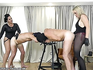 2 mistresses pegging bdsm spankwire stockings